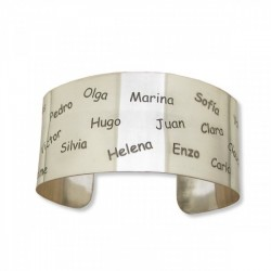 Pulsera-Brazalete artesanal personalizable en plata de ley 925