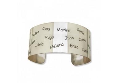 Brazalete con nombres artesanal personalizable en plata de ley 925