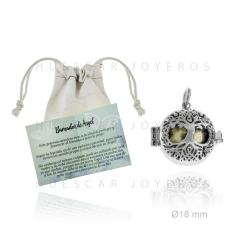 Colgante de llamador de angel en plata de 18 mm con bola interior de metal