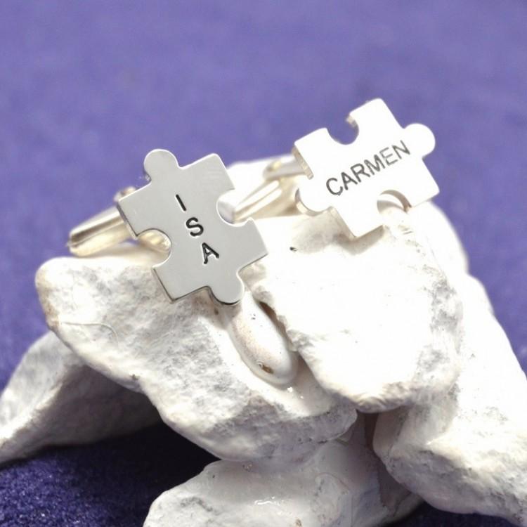 Gemelos puzzles personalizados en plata de ley y/o bañados en oro de 18 kts