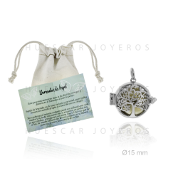Colgante de llamador de angel en plata de 15mm con bola interior de metal