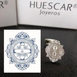 Gemelos Escudo Cofradía/ Club/ Asociación en plata de ley