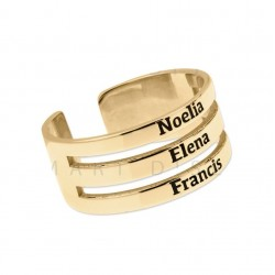 Anillo triple con nombres en plata de ley bañado en oro
