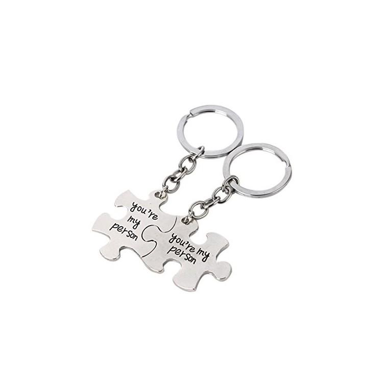 Llaveros Puzzle en plata de ley ( 2 unidades)