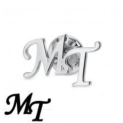 Pin de iniciales en plata de ley