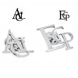 Pin de 3 iniciales personalizado plata de ley