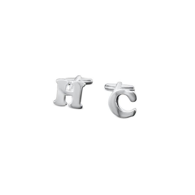 Gemelos de letras en plata de ley