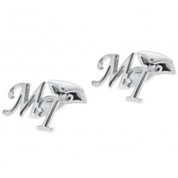 Gemelos de letras desplazadas en plata de ley