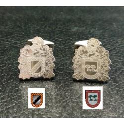 gemelos de escudos de armas plata de ley