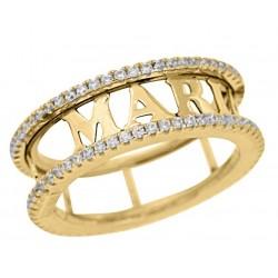 anillos con nombres dorados