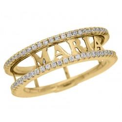 anillos son iniciales dorado plata