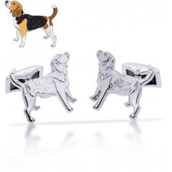 Gemelos de perros personalizados en plata de ley