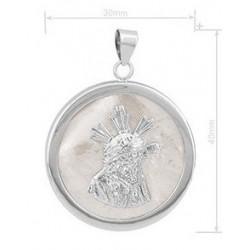 Colgante de plata con base de nacar (Cristo del Gran Poder )