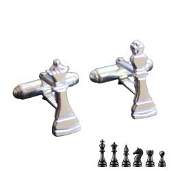 Gemelos fichas de ajedrez en plata de ley