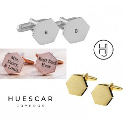 Gemelos hexagonales personalizados en plata de ley