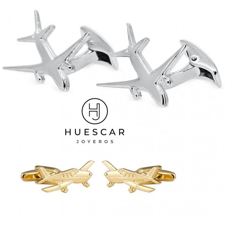gemelos avion de plata personalizado