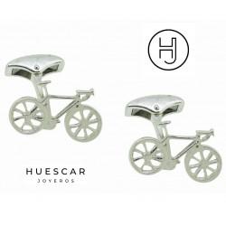 Gemelos Bicicleta en plata de ley fabricación artesanal