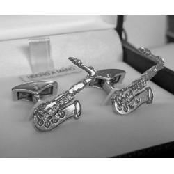 Gemelos instrumentos musicales en plata de ley