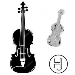 pin violin de plata de plata