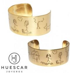 Pulsera personalizada dibujos de niños metal bañada en oro 18 k.
