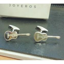 Gemelos guitarra personalizada en plata de ley
