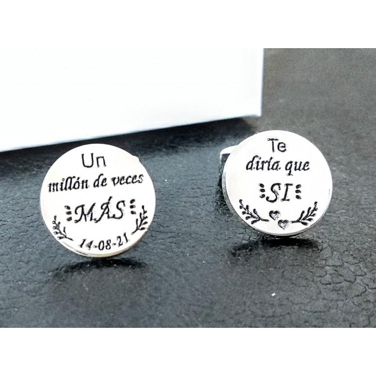 Gemelos personalizados para camisas de plata