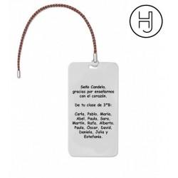 Marcapaginas personalizado con grabado acero inox.