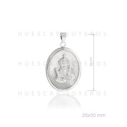 Colgante de plata con base de nacar ( Virgen de la Cabeza)