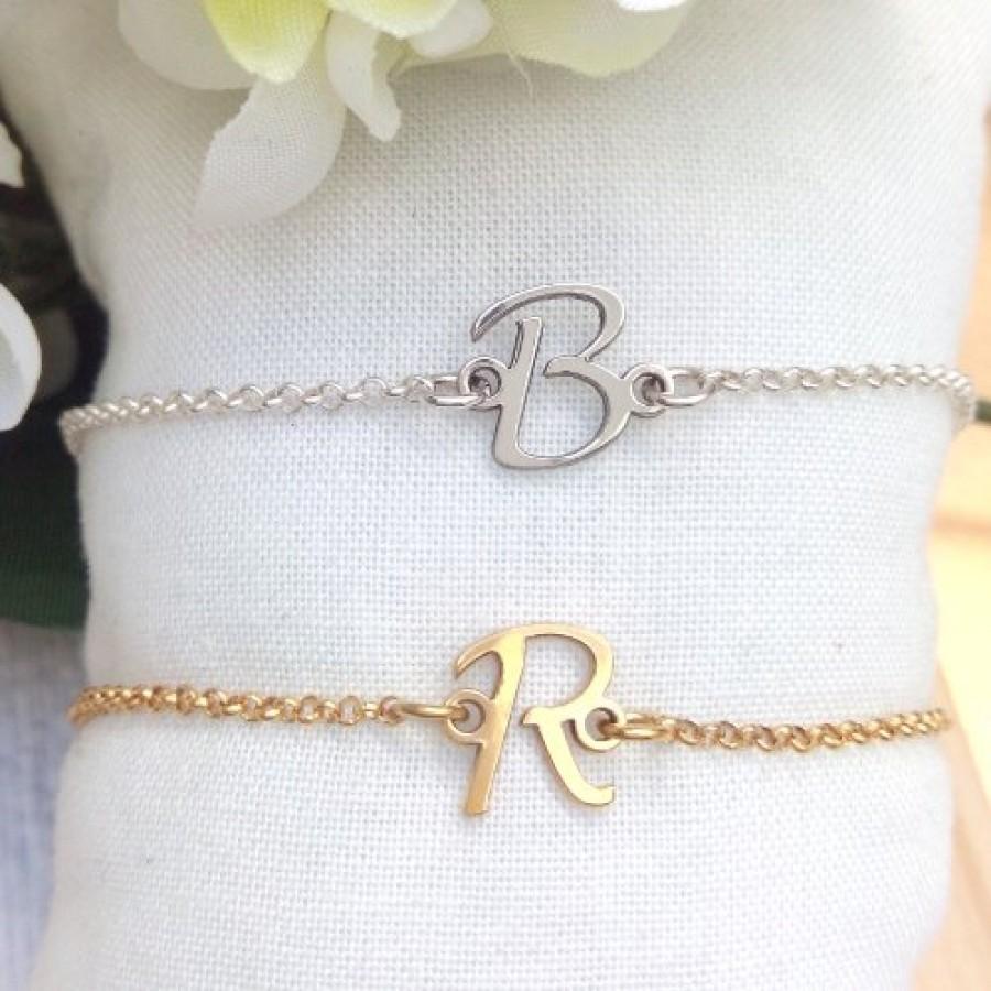 feea5cbe7594 Pulsera de iniciales en plata de ley ( elegir plata -dorada)